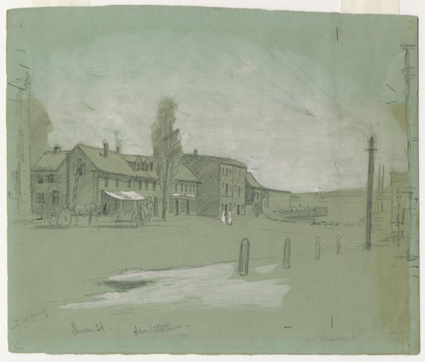 Image of drawing : Queen Street, Charlottetown