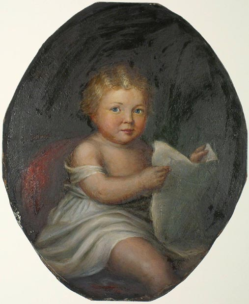 Image of painting : Blond Child With Paper