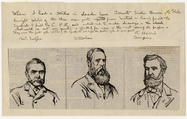 Image of print : Engraving Of The Three Men Who Formed The First C.P.R. Syndicate (McIntyre, Stephen, Angus)