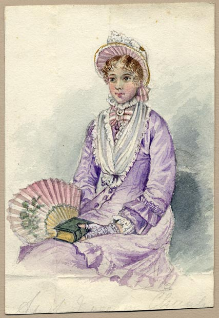 Image of painting : Lady In Lavender Dress With Fan And Bonnet