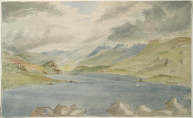 Image of painting : Spot Sketch From Capel Curig Looking Towards Snowdon