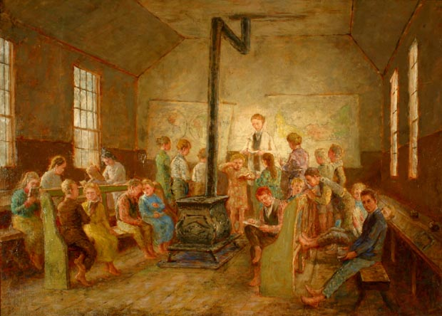 Image of painting : The One-room School, Canoe Cove, P.E.I.